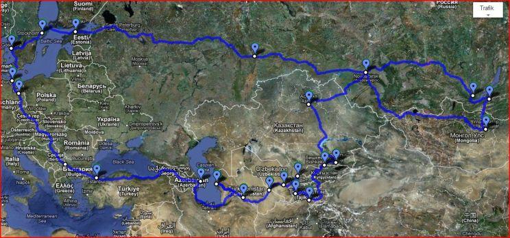 Vi kör söderut genom Tyskland, med ett stopp i Berlin för att hämta upp våra pass som vi har skickat till Turkmenistan ambassad för visumansökan. Sen genom Tjeckien, Slovakien, Ungern, Serbien och Bulgarien. Därifrån till Turkiet, längs Svarta Havet och in i Georgien och vidare till Azerbaijan. Från Baku tar vi färja över Kaspiska Havet till Turkmenistan. Vi kör sedan till Uzbekistan och snokar i Samarkand och Tasjkent. Därifrån går färden in i Tajikistan, över Pamirbergen där vi kör världens näst högsta belägna väg; Pamir Highway. Den inkluderar bl.a. ett pass på 4600 meters höjd. Hoppas Rachel klarar detta... Sedan kör vi in i och genom Kyrgyzstan till Kazakstan.  Om här finns tid över (men det tror vi egentligen inte) så planerar vi en liten tripp in i Mongoliet. Sen kör vi norrut in i Ryssland och styr sedan Rachel mot väster och moder Svea.